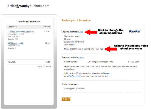 PayPal: How to Change Shipping Address