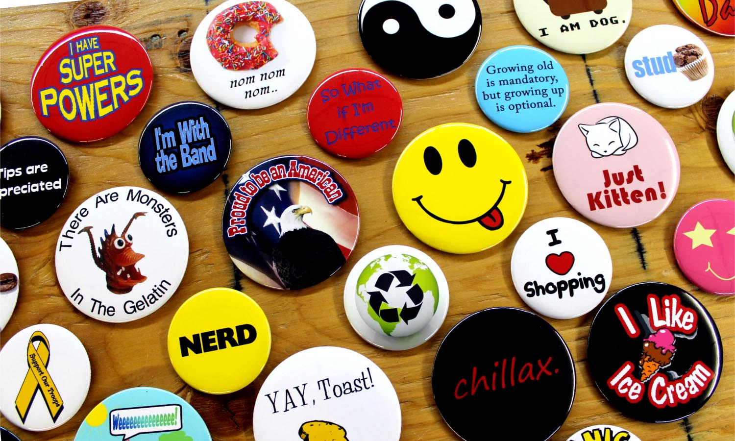 make buttons pin buttons custom buttons badge pins pinback buttons. Black Bedroom Furniture Sets. Home Design Ideas