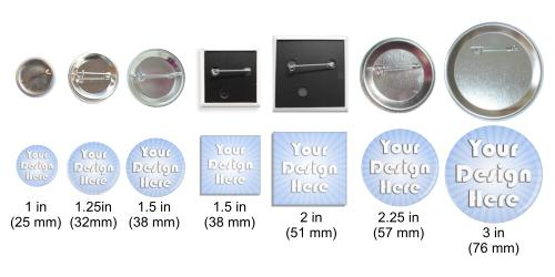 pin back buttons different button sizes