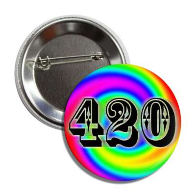 420 rainbow swirl festive button