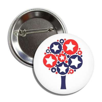 american tree leaves stars red white blue button