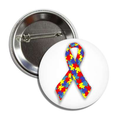 autism puzzle awareness ribbon button