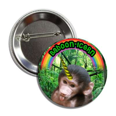 baboonicorn babboon unicorn button