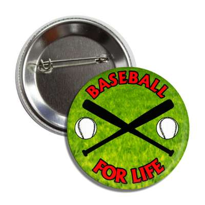 baseball for life crossed bats balls button