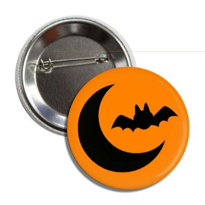 bat and moon halloween orange silhouette button