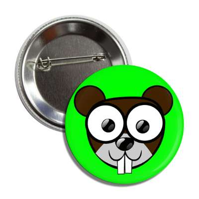beaver cute cartoon button