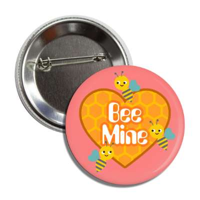 bee mine pink honeycomb heart button