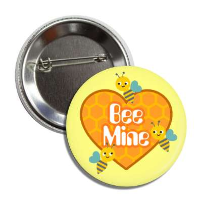 bee mine yellow honeycomb heart button