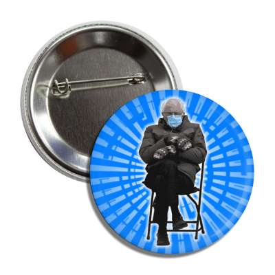 bernie mittens mask chair inauguration blue burst button
