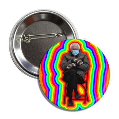 bernie mittens mask chair inauguration rainbow button
