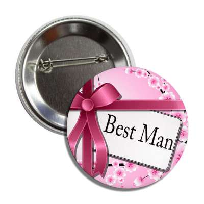 best man card pink ribbon flowers button