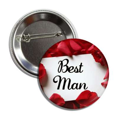 best man white card red petals button