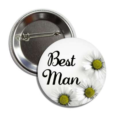 best man white flowers button