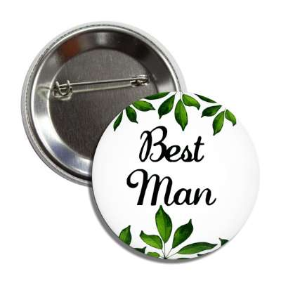 best man white green leaves button