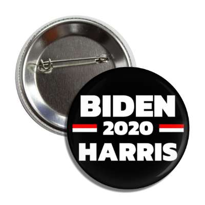 biden harris 2020 black white button