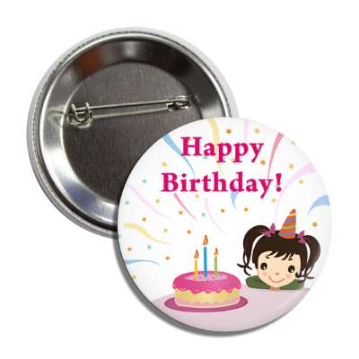 birthday cake cartoon girl button