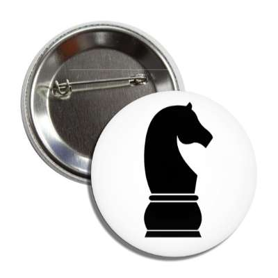 black knight chess piece button