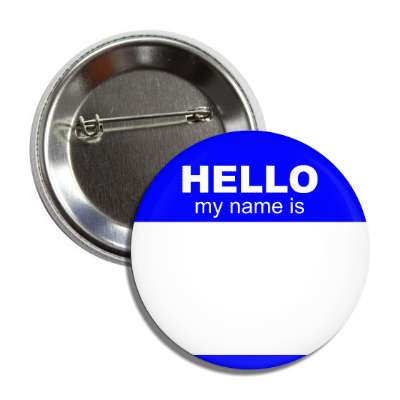 blue hello my name is button