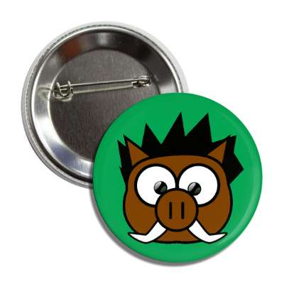 boar cute cartoon button