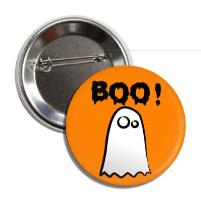 boo ghost orange button