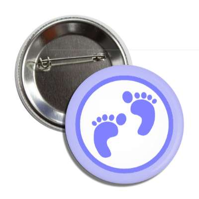 boy footprints blue border button