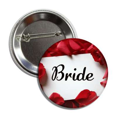 bride white card red petals button