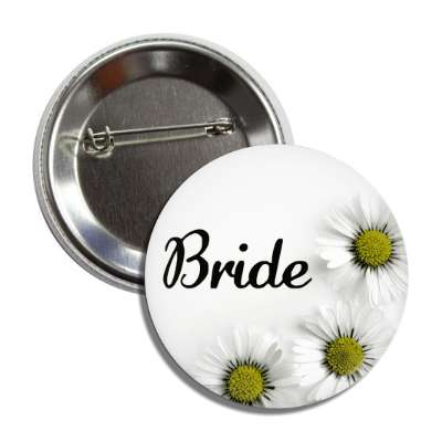 bride white flowers button