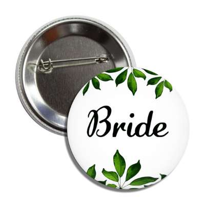 bride white green leaves button