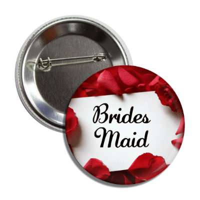 bridesmaid white card red petals button