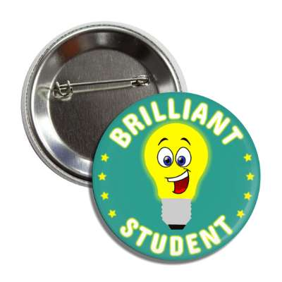 brilliant student stars lightbulb smiley button