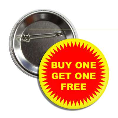 buy one get one free red burst yellow pricetag button