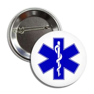 caduceus blue white button