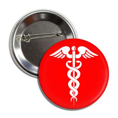 caduceus red white button