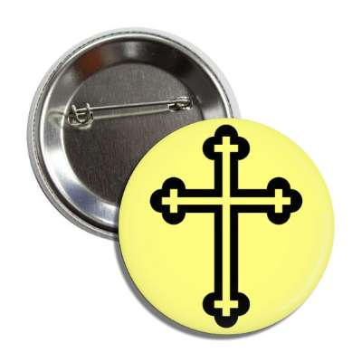 christian cross yellow black button