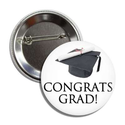 congrats grad graduation cap button