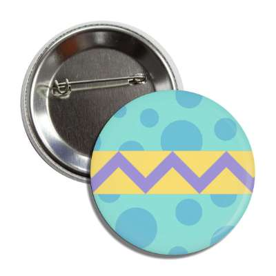 easter egg design zig zag polka dots bluegreen button