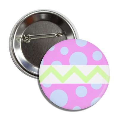 easter egg design zig zag polka dots magenta button