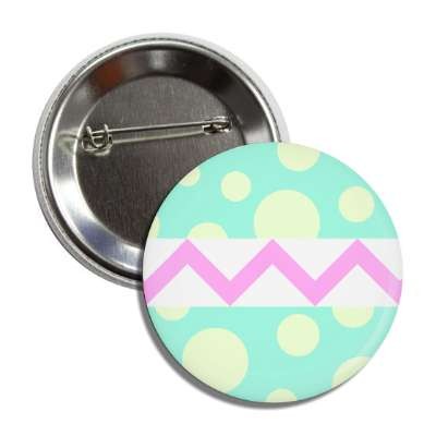 easter egg design zig zag polka dots mint green button