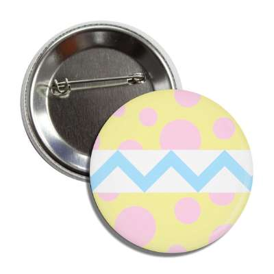 easter egg design zig zag polka dots yellow button