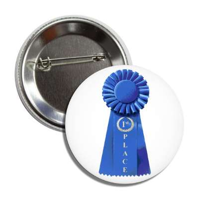 first place ribbon blue button