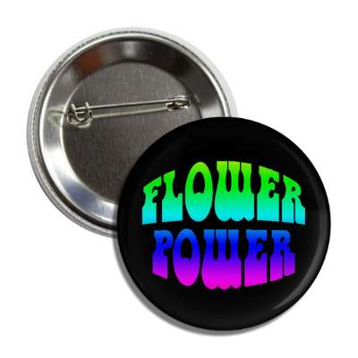 flower power rainbow black button