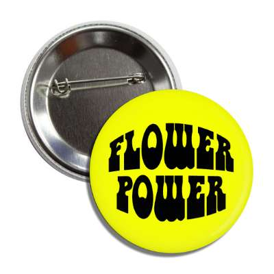 flower power yellow hippy button