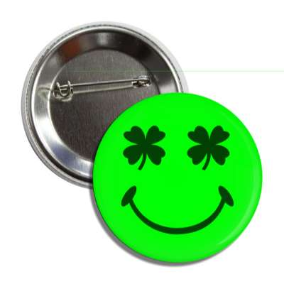 four leaf clover smiley button