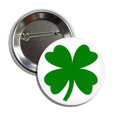 four leaf clover st patricks day white button