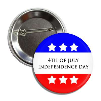 fourth of july independence day red white blue stars button