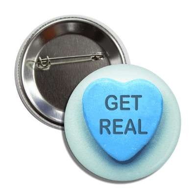get real blue heart candy valentine button