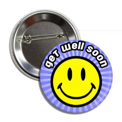 get well soon blue rays smiley button