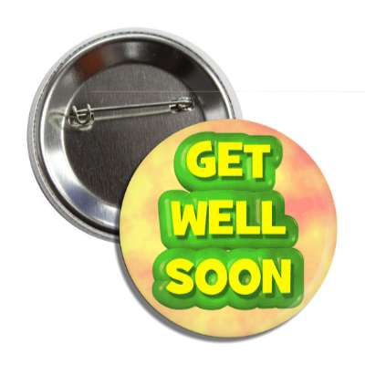 get well soon green outline colorful button