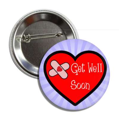 get well soon heart bandaid blue rays button