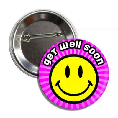 get well soon purple rays smiley button